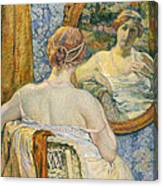Woman In A Mirror Canvas Print