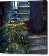 Woman In Dark Gown On Old Staircase Canvas Print