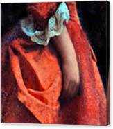 Woman In Red 18th Century Gown Canvas Print