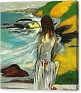 Woman In Sheer Dress By Sea 3d Canvas Print