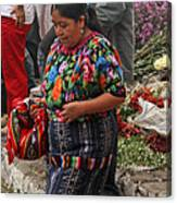 Woman In Traditional Guatemalan Dress Canvas Print