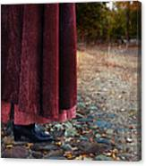 Woman In Vintage Clothing On Cobbled Street Canvas Print