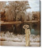 Woman In Vintage Dress With Parason By Lake Canvas Print