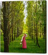 Woman In Vintage Pink Dress Walking Through Woods Canvas Print