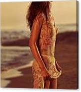 Woman In Wet Dress At The Beach Canvas Print