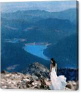Woman In White Gown On Mountain Top Canvas Print