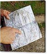 Woman On Country Road Pointing Map Canvas Print
