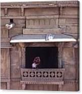 Woman On The Balcony Canvas Print