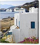 Woman On The Terrace - Mykonos Canvas Print