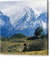 Woman Riding Horseback, Torres Del Canvas Print