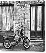 Woman Rushes From Scooter Canvas Print