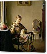 Woman Sewing Canvas Print