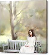 Woman Sitting On Park Bench Canvas Print