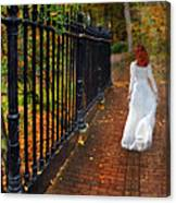 Woman Walking In Long White Gown Canvas Print