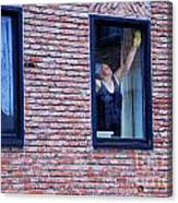 Woman Window Cleaner Canvas Print