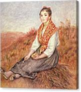 Woman With A Bundle Of Firewood Canvas Print