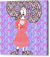 Woman With Crazy Hair Canvas Print