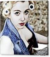 Woman With Curlers Canvas Print
