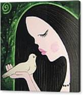 Woman With Dove Canvas Print