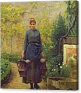 Woman With Watering Cans Canvas Print