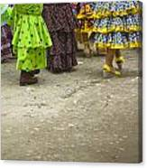 Women And Flamenco Dresses Canvas Print