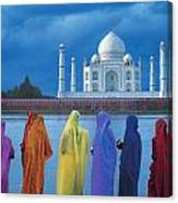Women In Colorful Saris In Front Of The Canvas Print