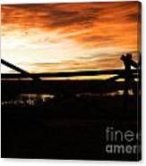 Wood Fence Sunrise Canvas Print
