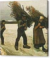 Wood Gatherers In The Snow Canvas Print