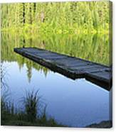 Wooden Dock On Lake Canvas Print