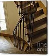Wooden Stairs In Traditional Parisian Building Canvas Print
