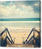 Wooden Steps At Beach Canvas Print