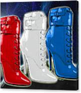 World Domination In Red White And Blue Boots Canvas Print