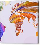 World Map Abstract Painted Canvas Print