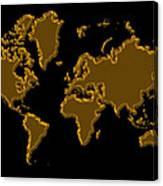World Map Gold Canvas Print