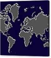 World Map Silver Canvas Print
