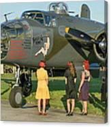 World War II B-25 Bomber Briefing Time Canvas Print