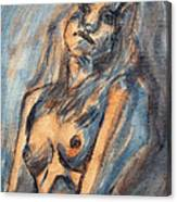 Worried Young Nude Female Teen Leaning And Filled With Angst In Orange And Blue Watercolor Acrylics Canvas Print