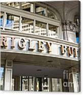 Wrigley Building Sign In Chicago Canvas Print