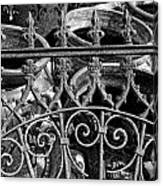 Wrought Iron Gate And Pots Black And White Canvas Print