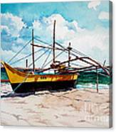 Yellow Boat Docking On The Shore Canvas Print