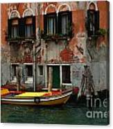 Yellow Boat Venice Italy Canvas Print