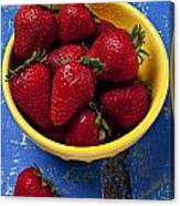 Yellow Bowl Of Strawberries Canvas Print