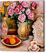 Yellow Daffodils Red Roses  Peaches And Oranges With Tea Cup  Canvas Print