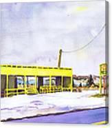 Yellow Farm Stand Winter Orient Harbor Ny Canvas Print