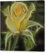 Yellow Fractalius Rose Canvas Print