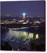 Yellow Light Over The Niagara Falls  - Canada Canvas Print