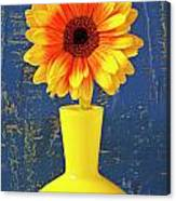 Yellow Mum In Yellow Vase Canvas Print