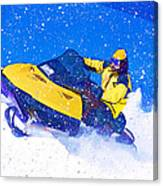 Yellow Snowmobile In Blizzard Canvas Print