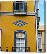 Yellow Tile Building In Cadiz Spain Canvas Print