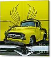 Yellow Truck In Truck Grill Canvas Print